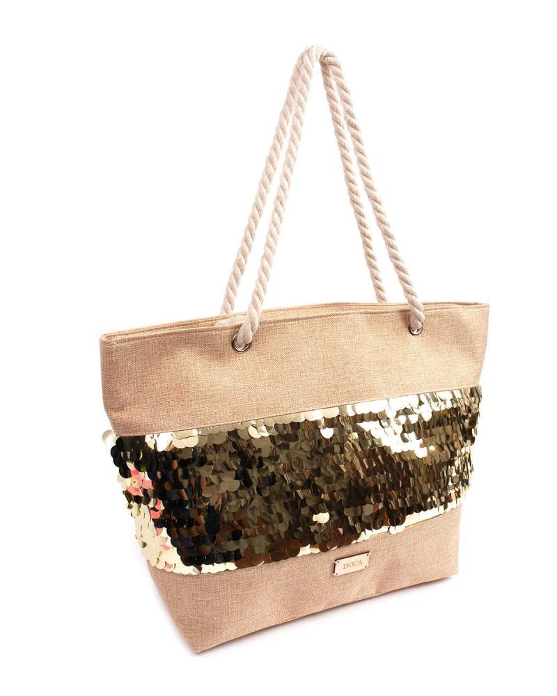 Gold beach bag