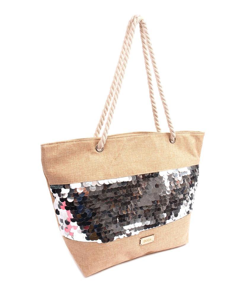 Silver beach bag