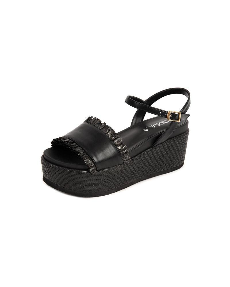 Schwarze Flatform-Sandalen