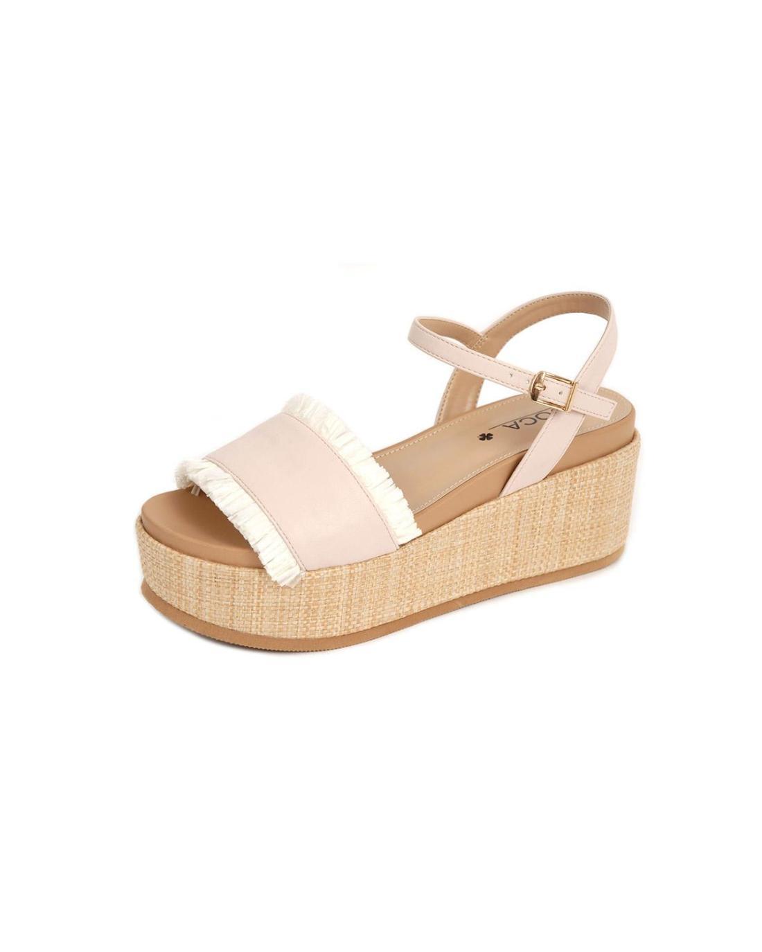 Weiße Flatform-Sandalen