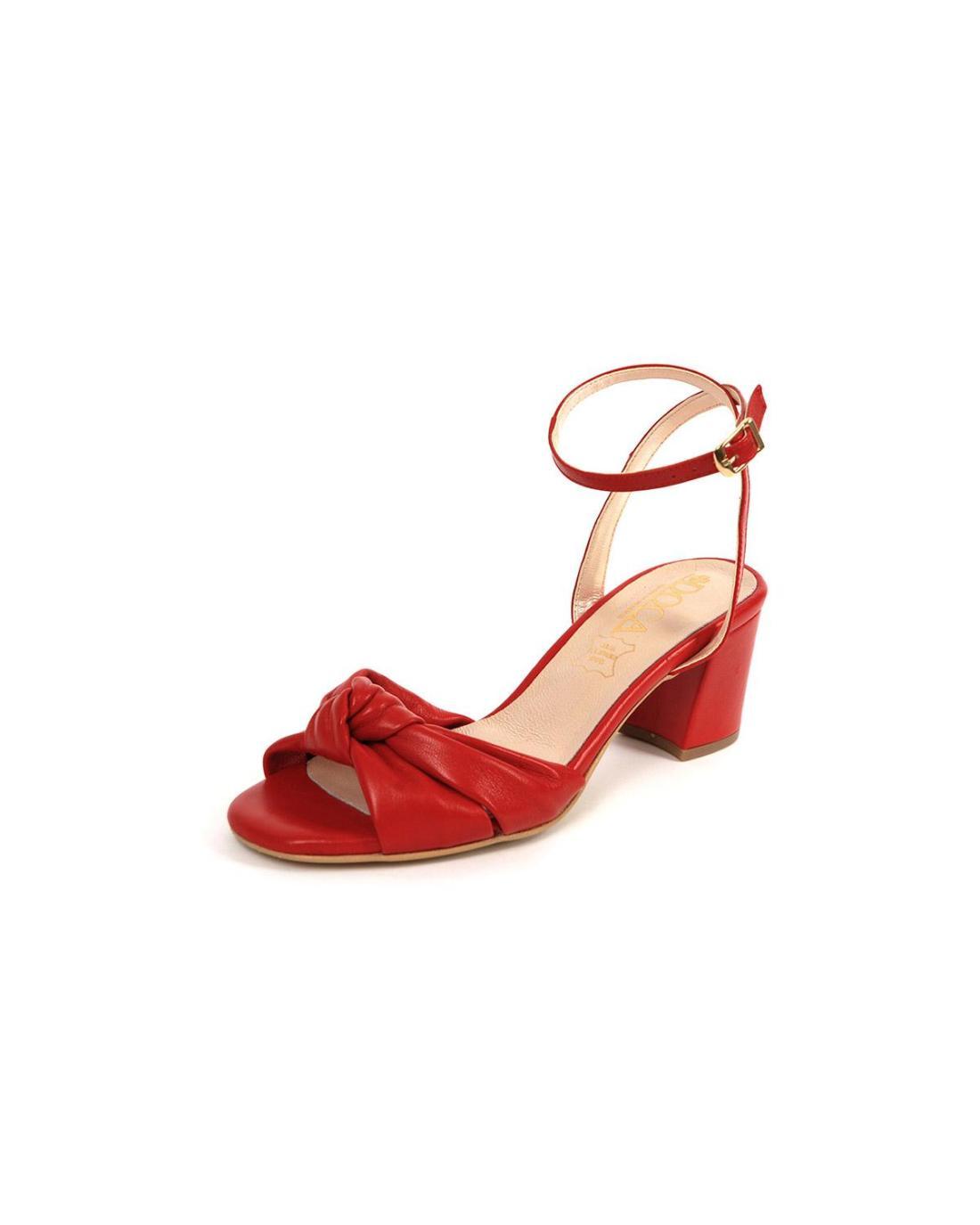 Rote Leder Sandalen