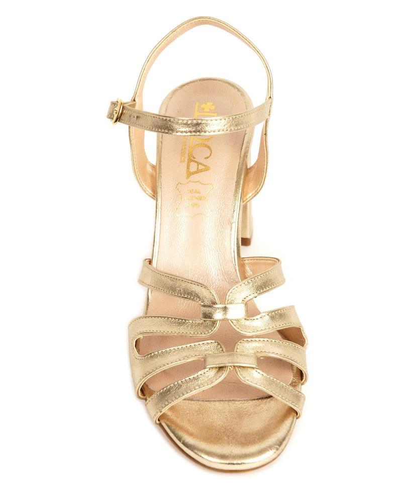 Goldene Leder Sandalen