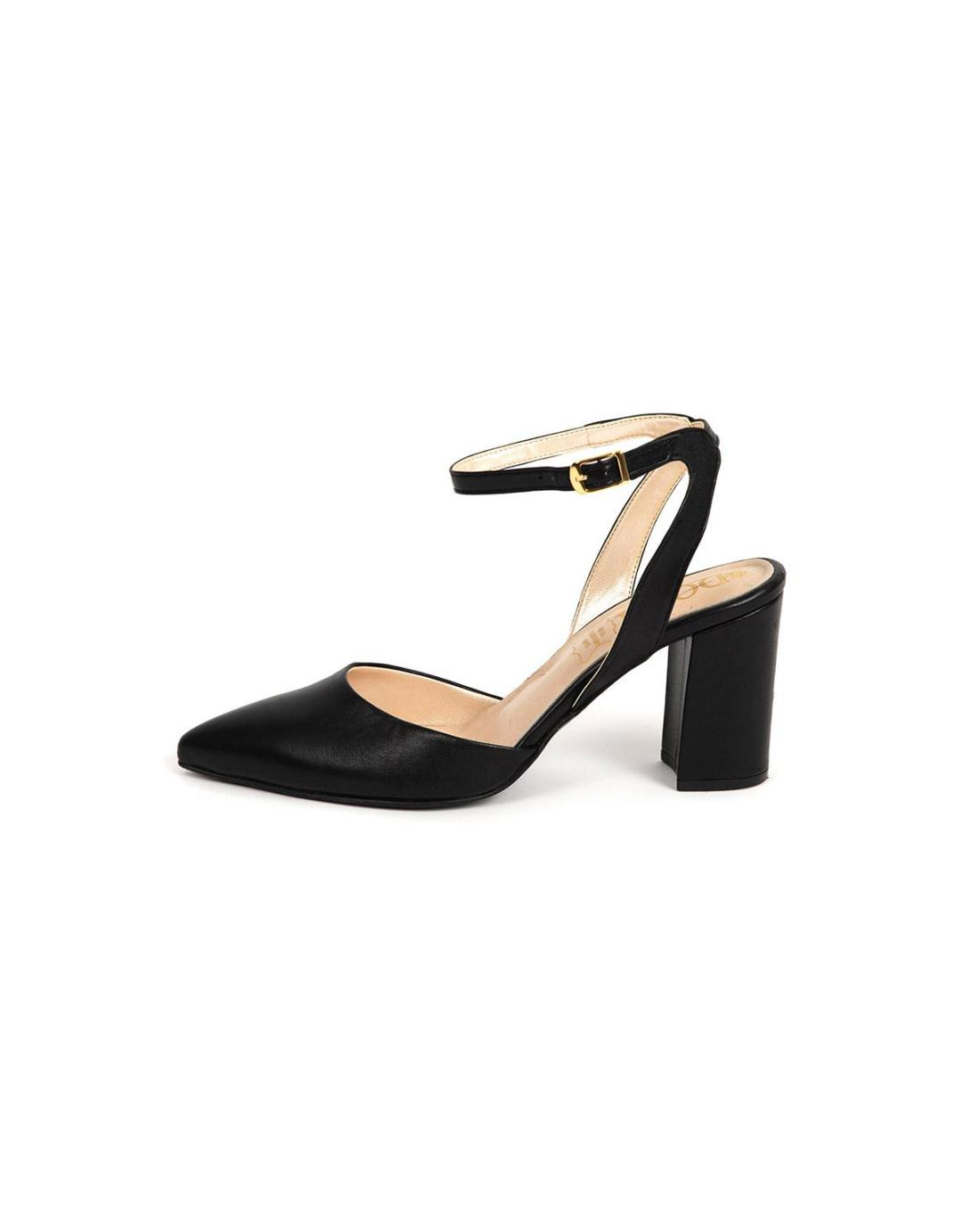 Black leather block heels