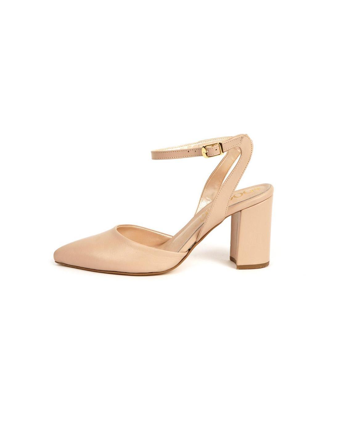Beige leather block heels