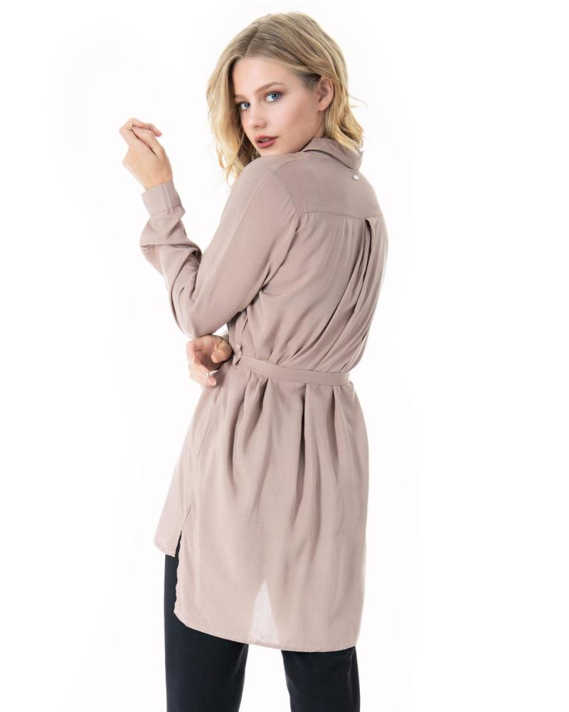 Beige shirtdress