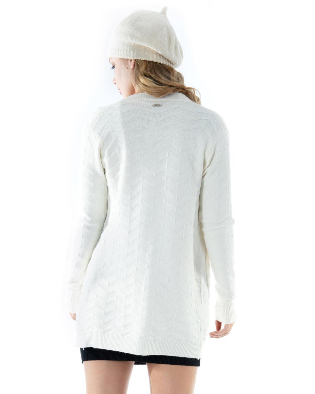 Weiße Strickjacke