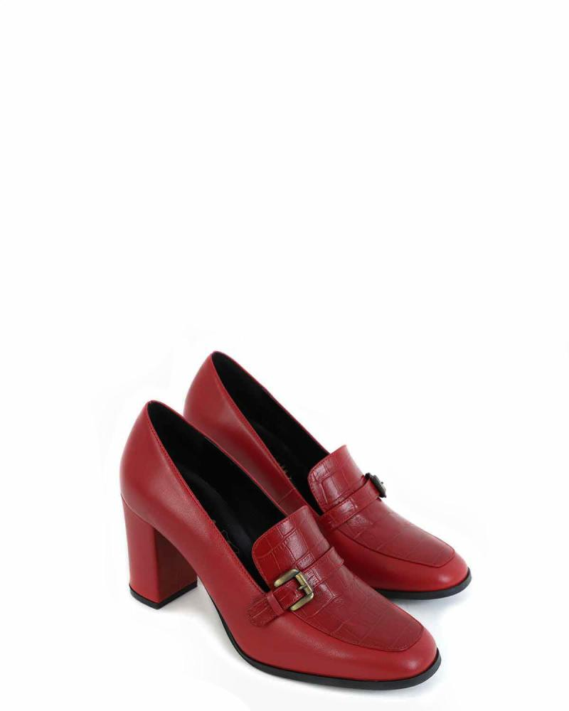 Leather red loafers