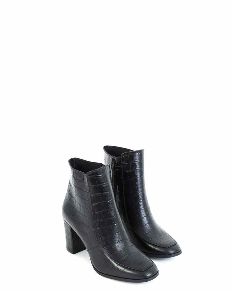 Schwarze Leder Ankle Boots