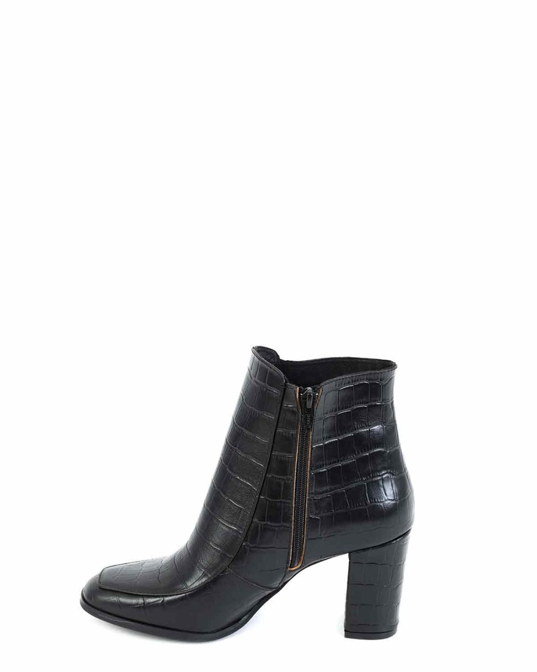 Δερμάτινα ankle boots μαύρα
