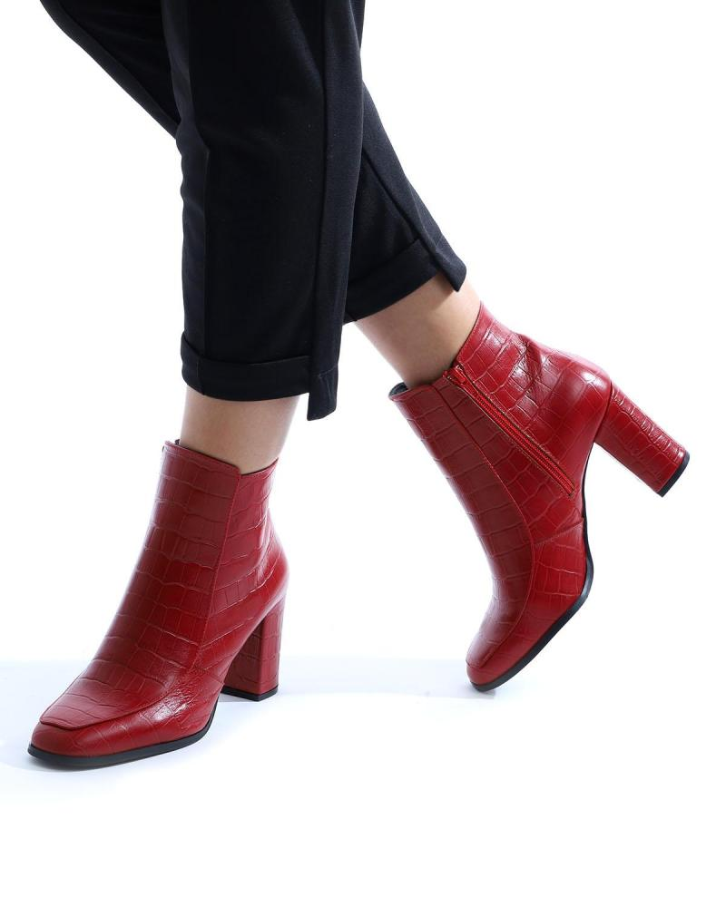 Rote Leder Ankle Boots