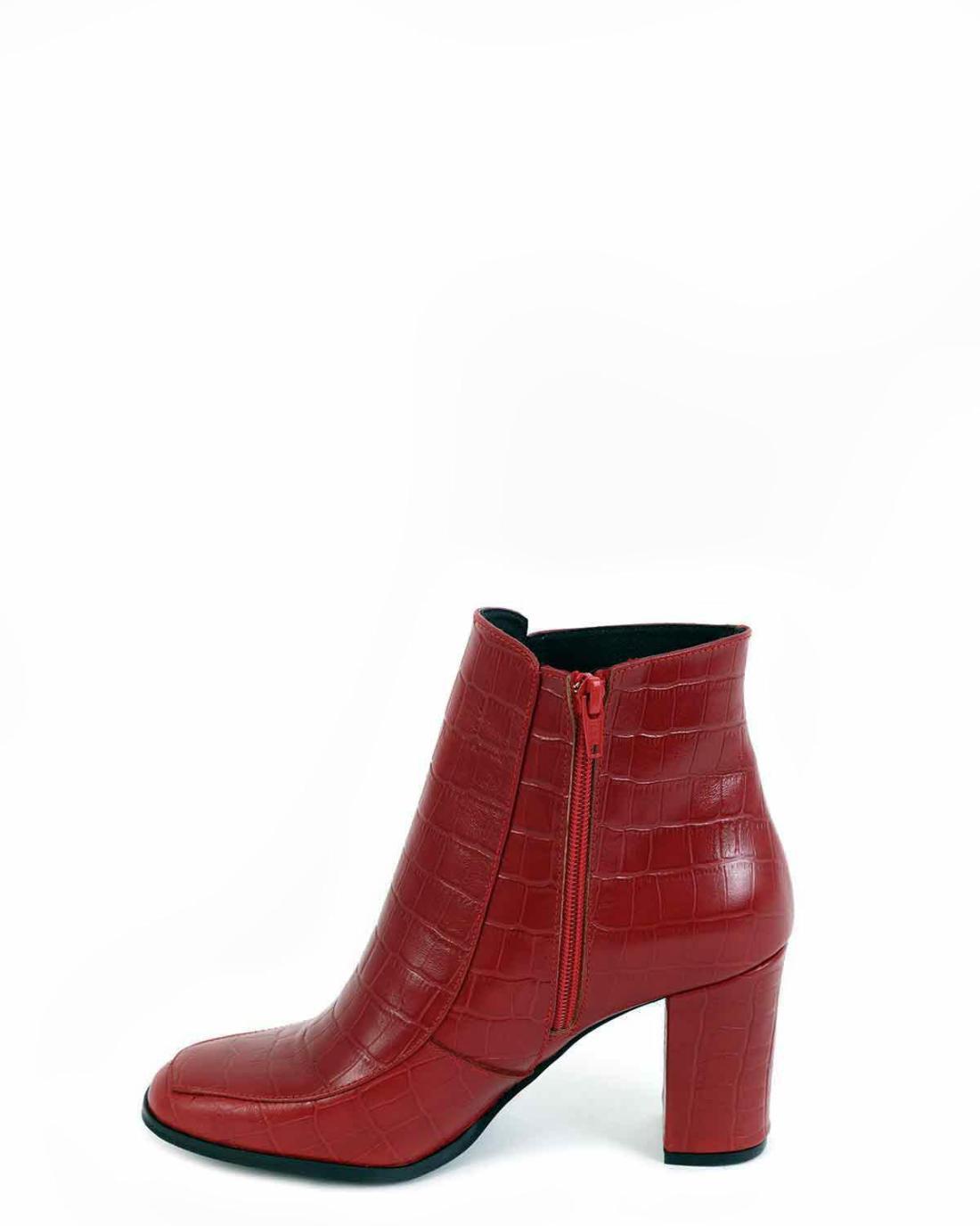 Δερμάτινα ankle boots κόκκινα