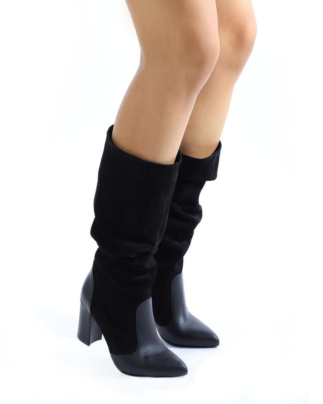 Schwarze Leder Stiefel