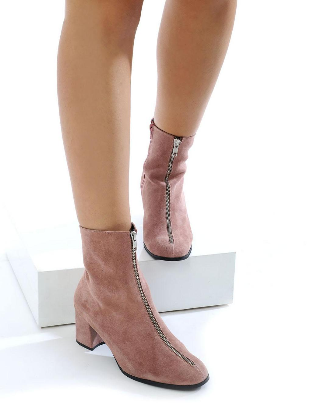Pink leather ankle boots