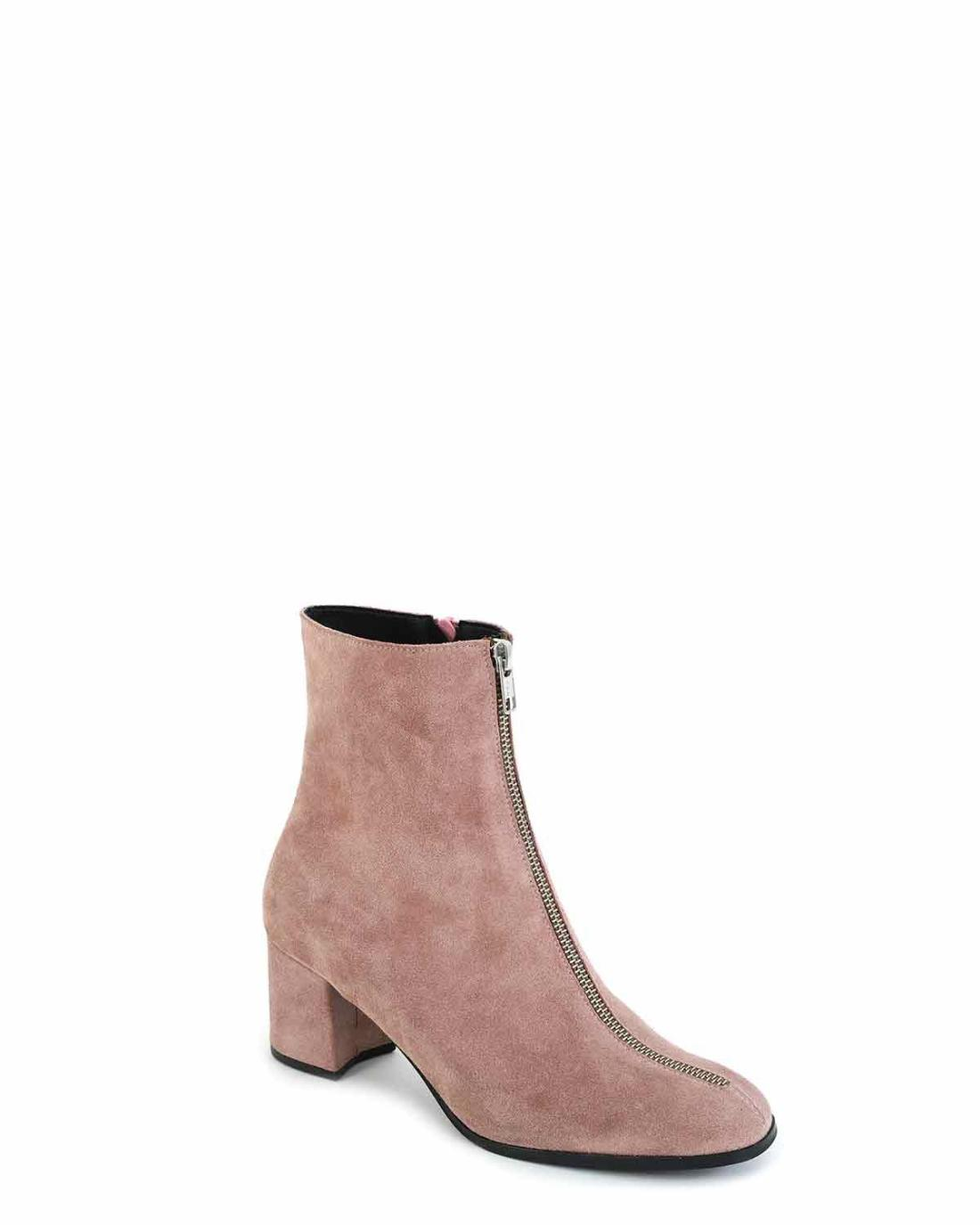 Rosa Leder Ankle Boots