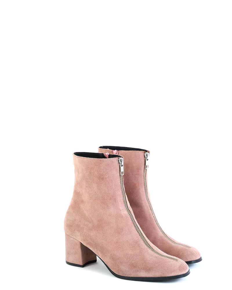 Δερμάτινα ankle boots ροζ