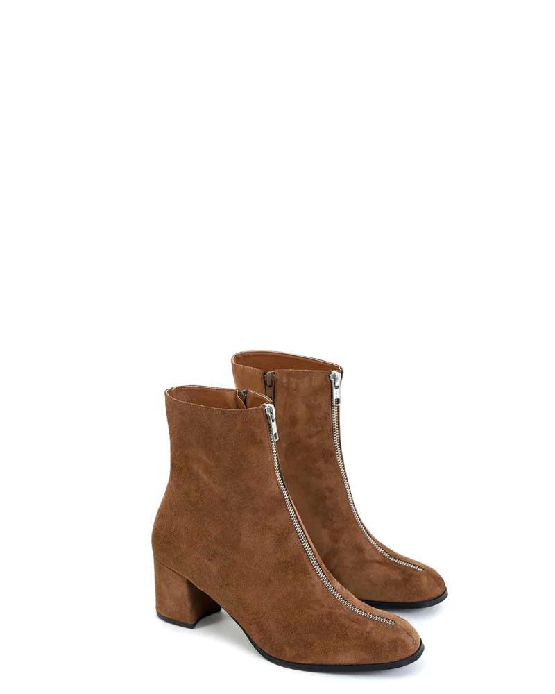 Δερμάτινα ankle boots καφέ