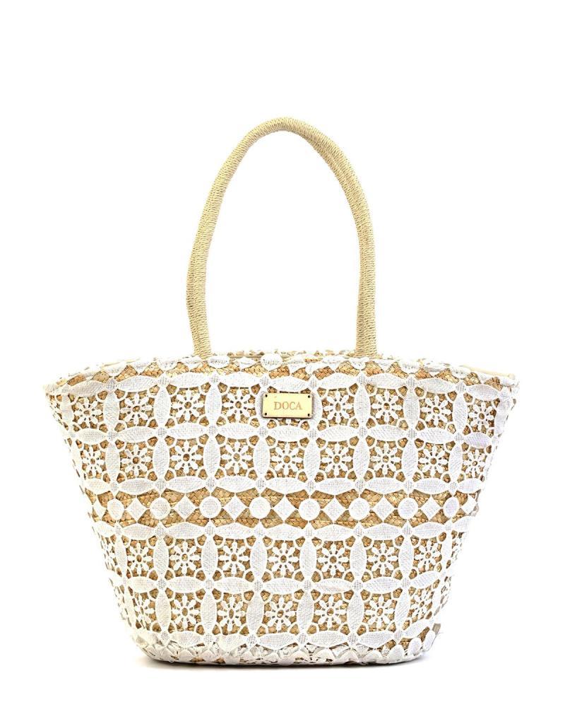 Papierstroh weiße strandtasche
