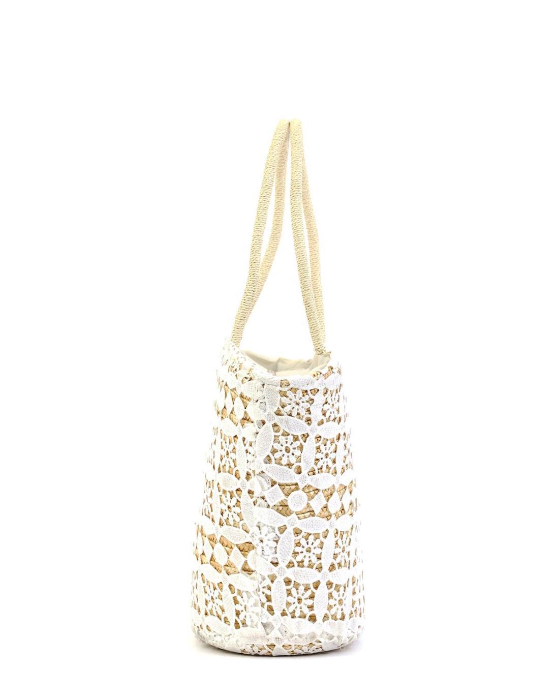 Ψάθινη τσάντα θαλάσσης άσπρη