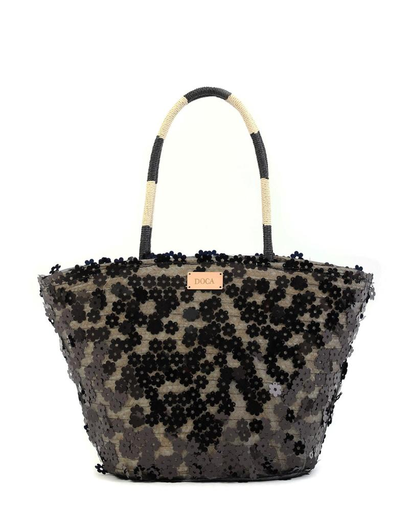Paper straw black beach bag