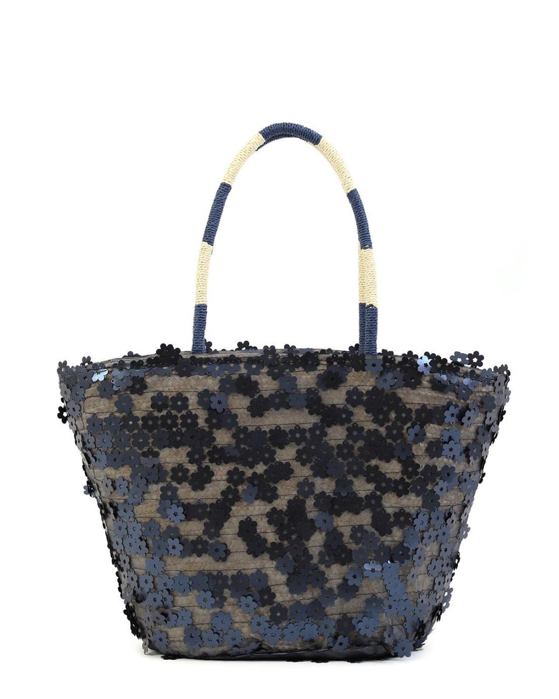Paper straw blue beach bag