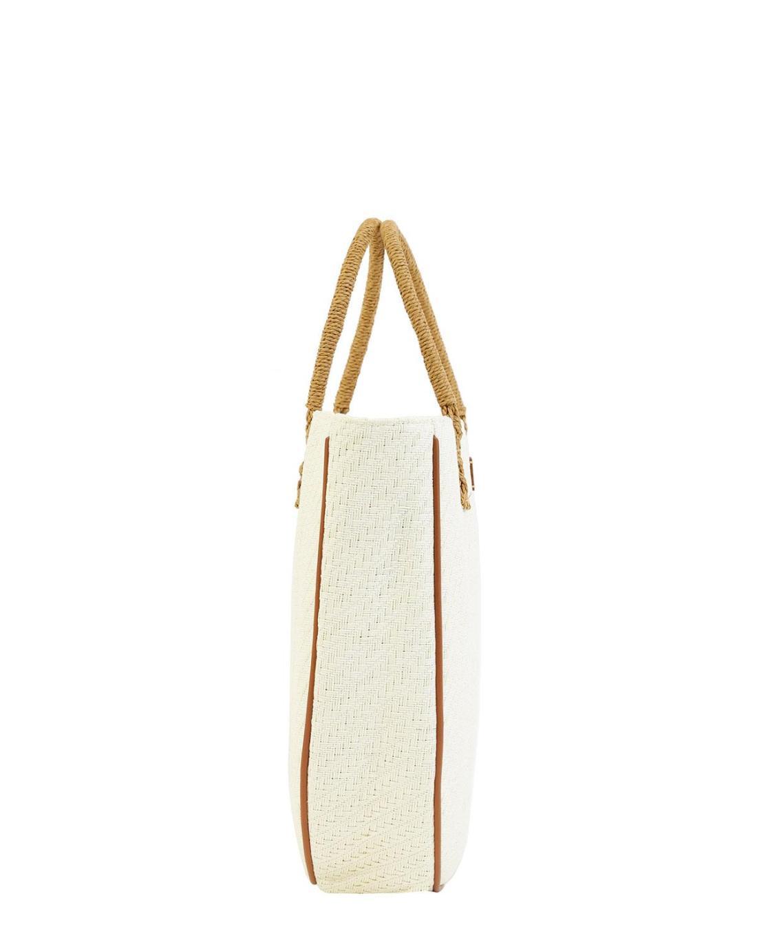 Paper straw ecru beach bag