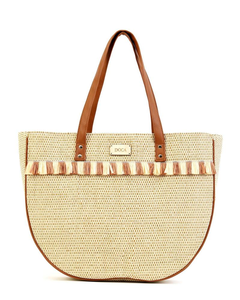 Paper straw beige beach bag
