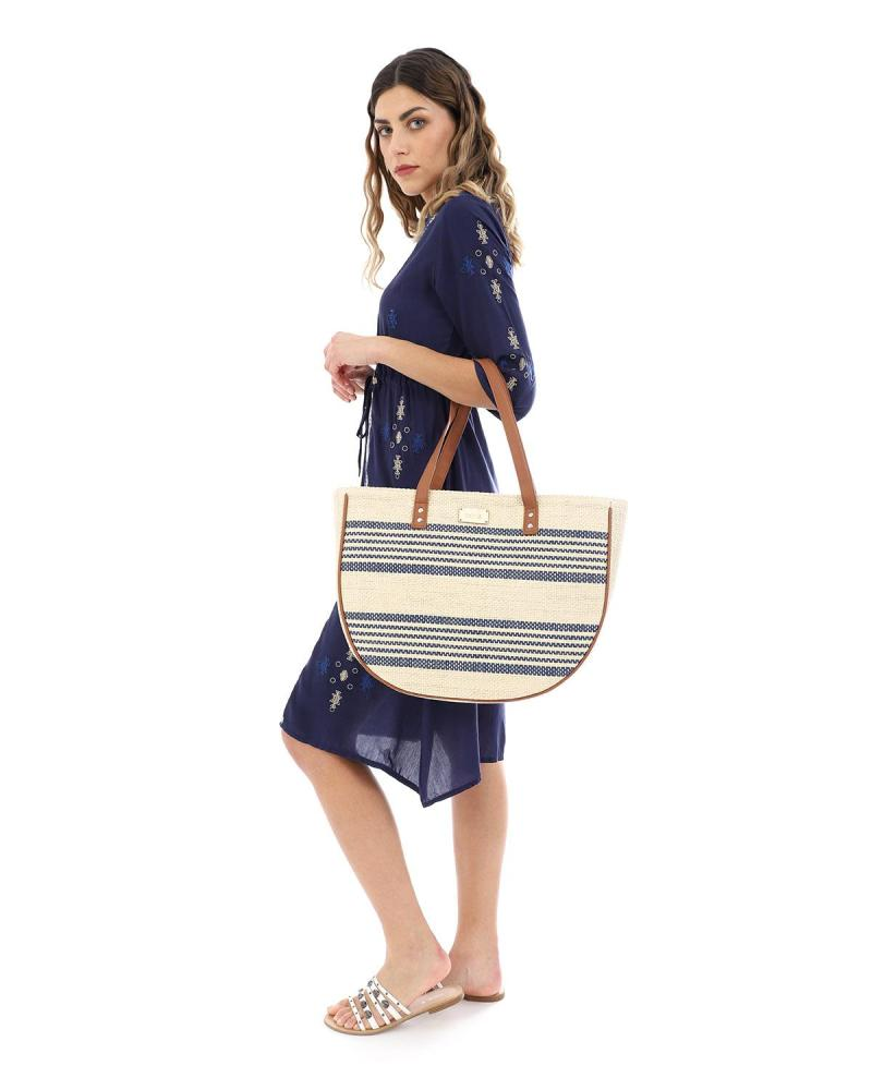 Paper straw beige beach bag