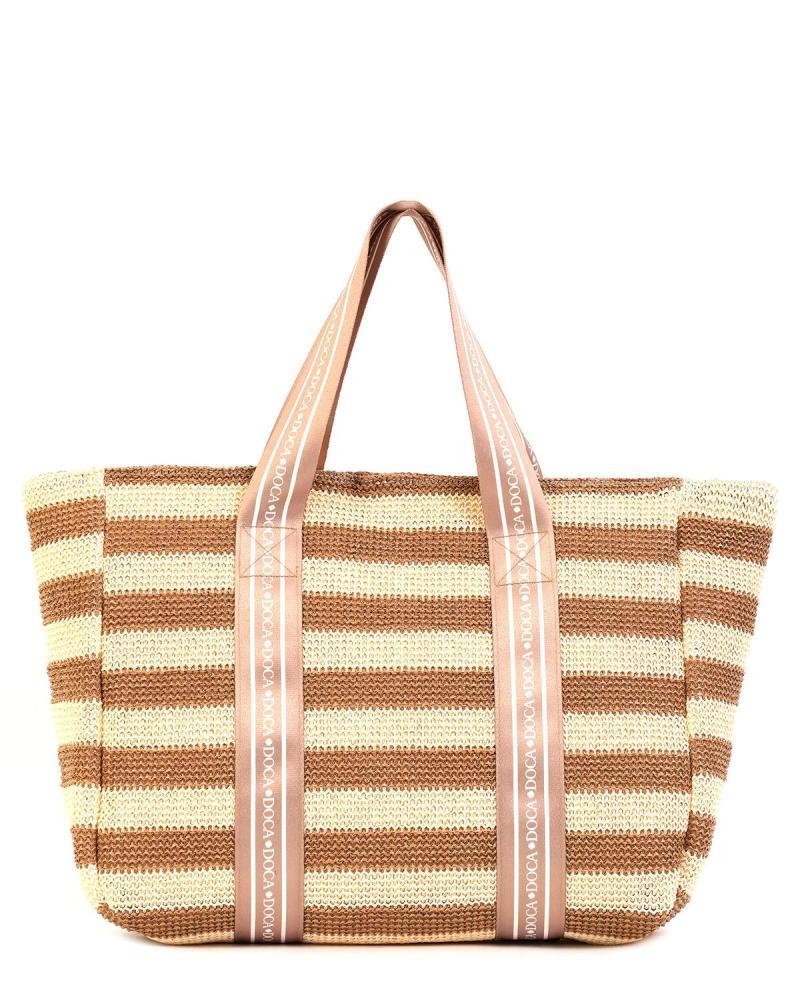 Ψάθινη τσάντα θαλάσσης καφέ