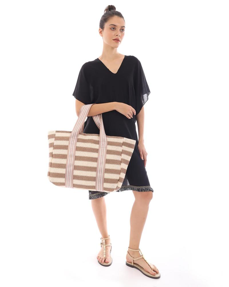 Paper straw brown beach bag