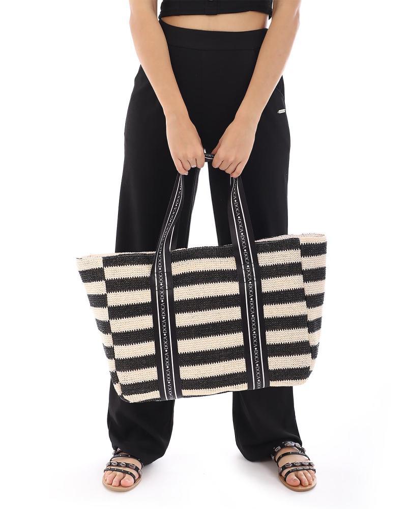 Schwarze strandtasche