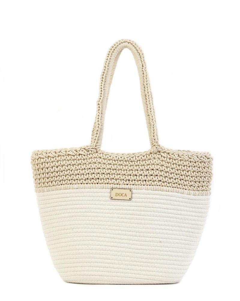 Paper straw white beach bag