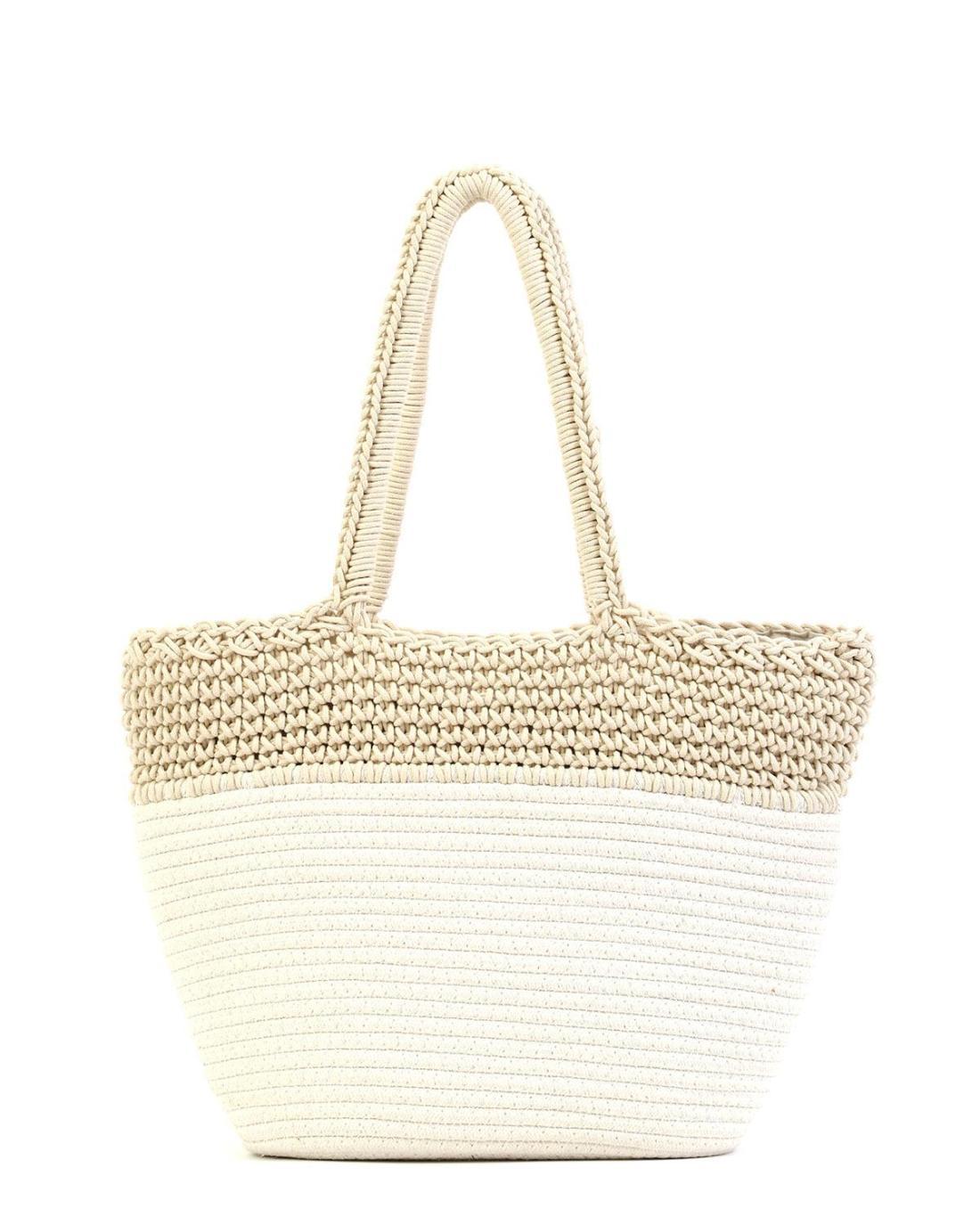 Paper straw white beach bag