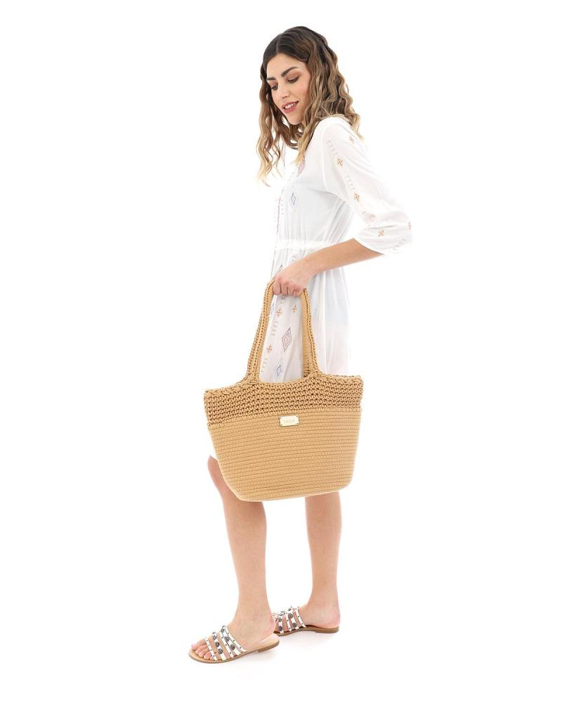 Ψάθινη τσάντα θαλάσσης κάμελ