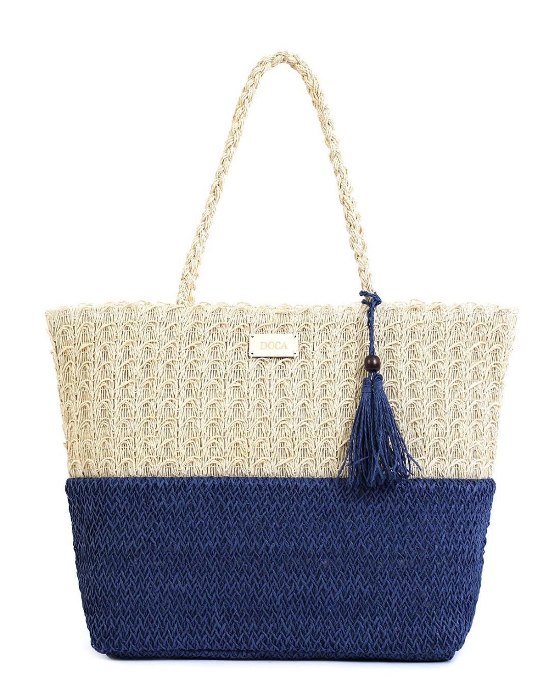 Ψάθινη τσάντα θαλάσσης μπλε