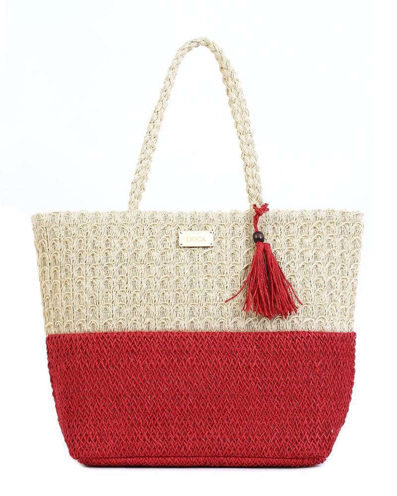 Ψάθινη τσάντα θαλάσσης κόκκινη