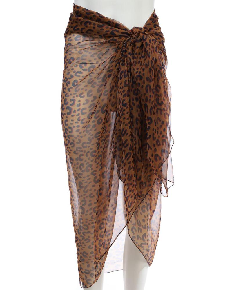 Animal print pareo-foulard