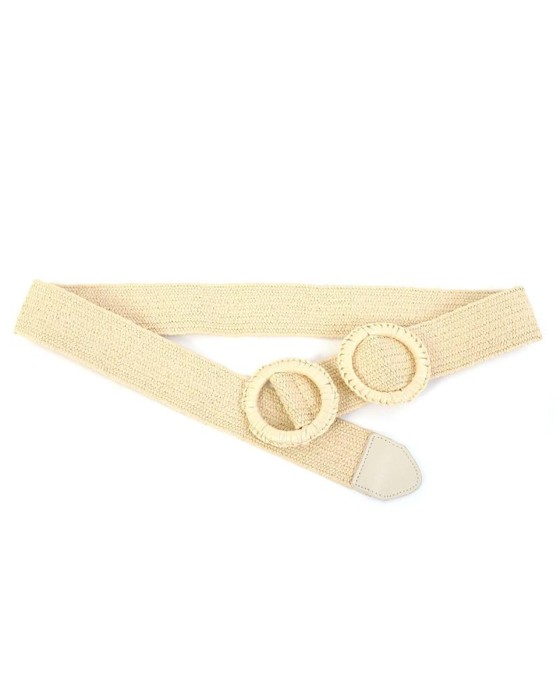 Paper straw beige belt