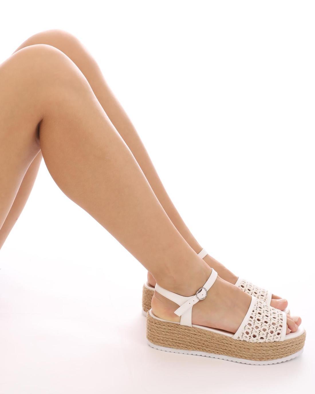 Πέδιλα-πλατφόρμες άσπρες