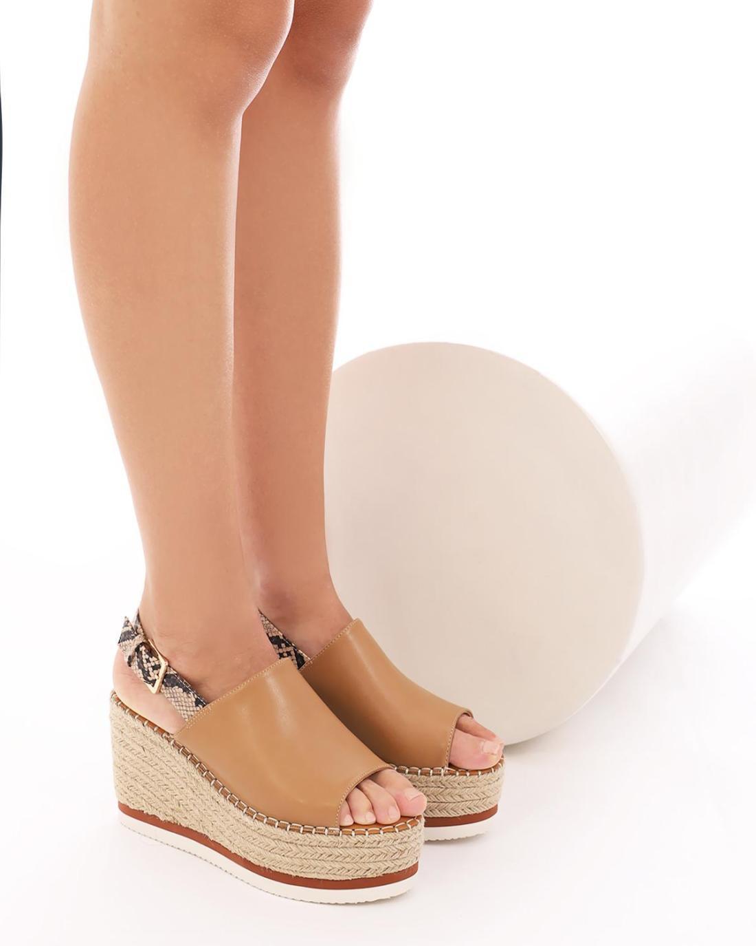 Beige platform-sandals