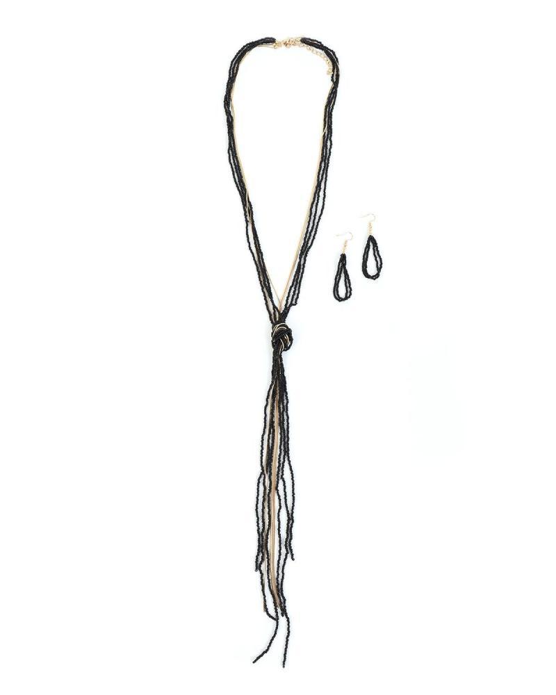 Σετ κολιέ/σκουλαρίκια μαύρο