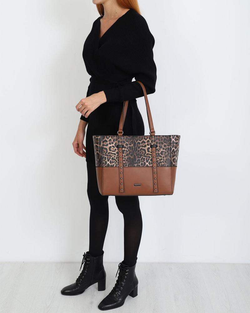 Καθημερινή τσάντα χειρός/ώμου καφέ