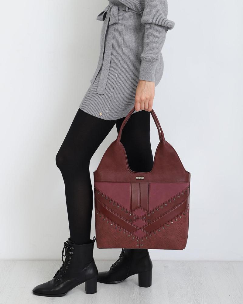 Καθημερινή τσάντα χειρός/ώμου μπορντώ