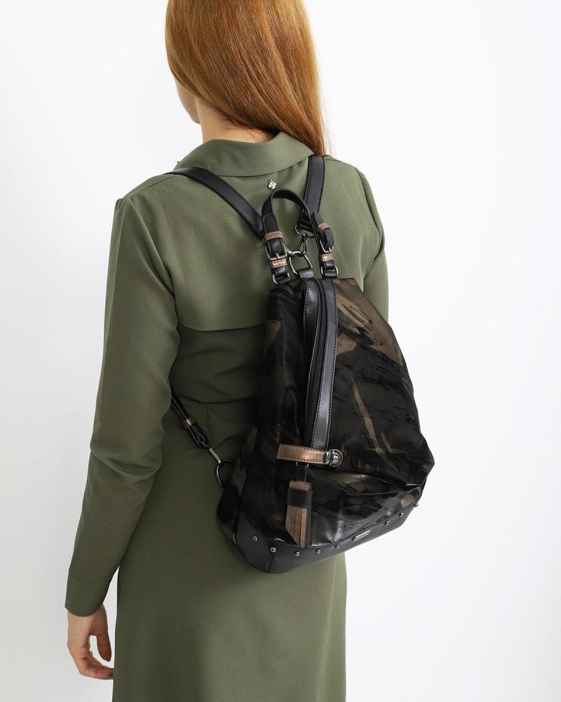Τσάντα πλάτης μαύρη/χακί