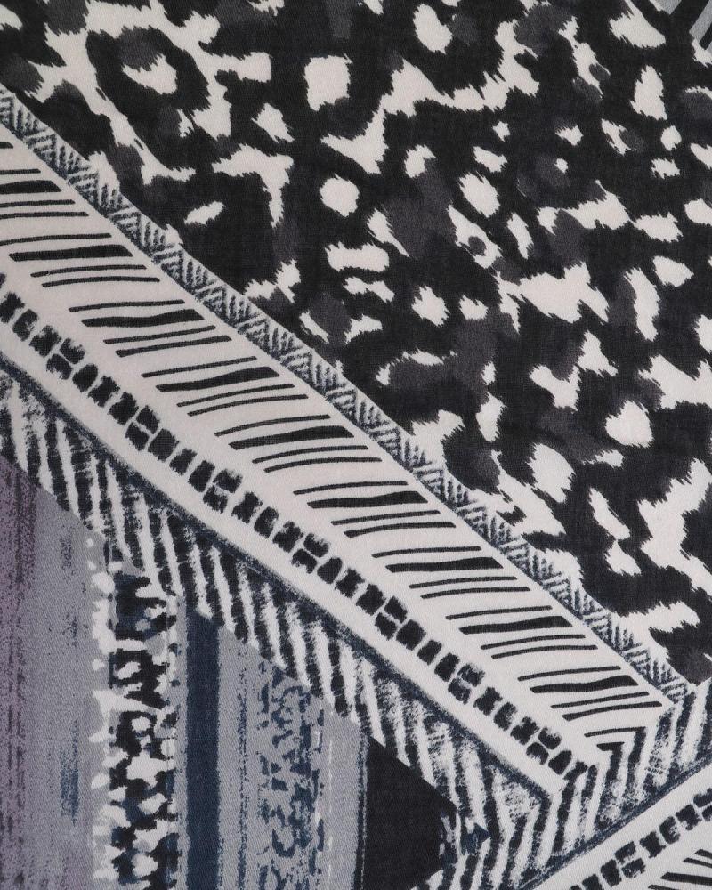 Grau animal print pashmina