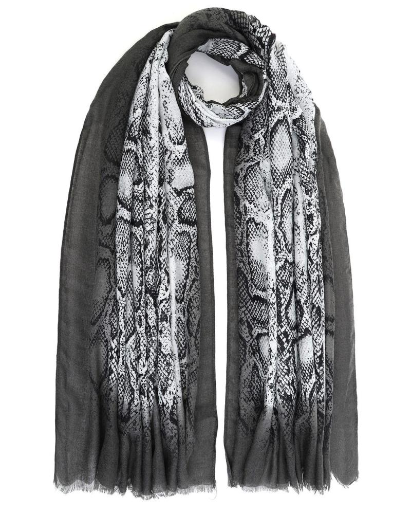 Grau animal print pashmina