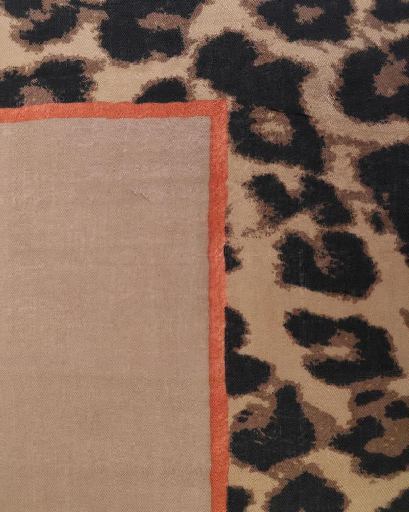 Brown animal print pashmina