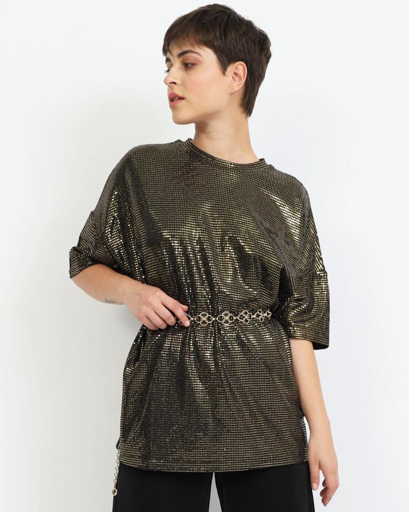 Μπλούζα μαύρη/χρυσή