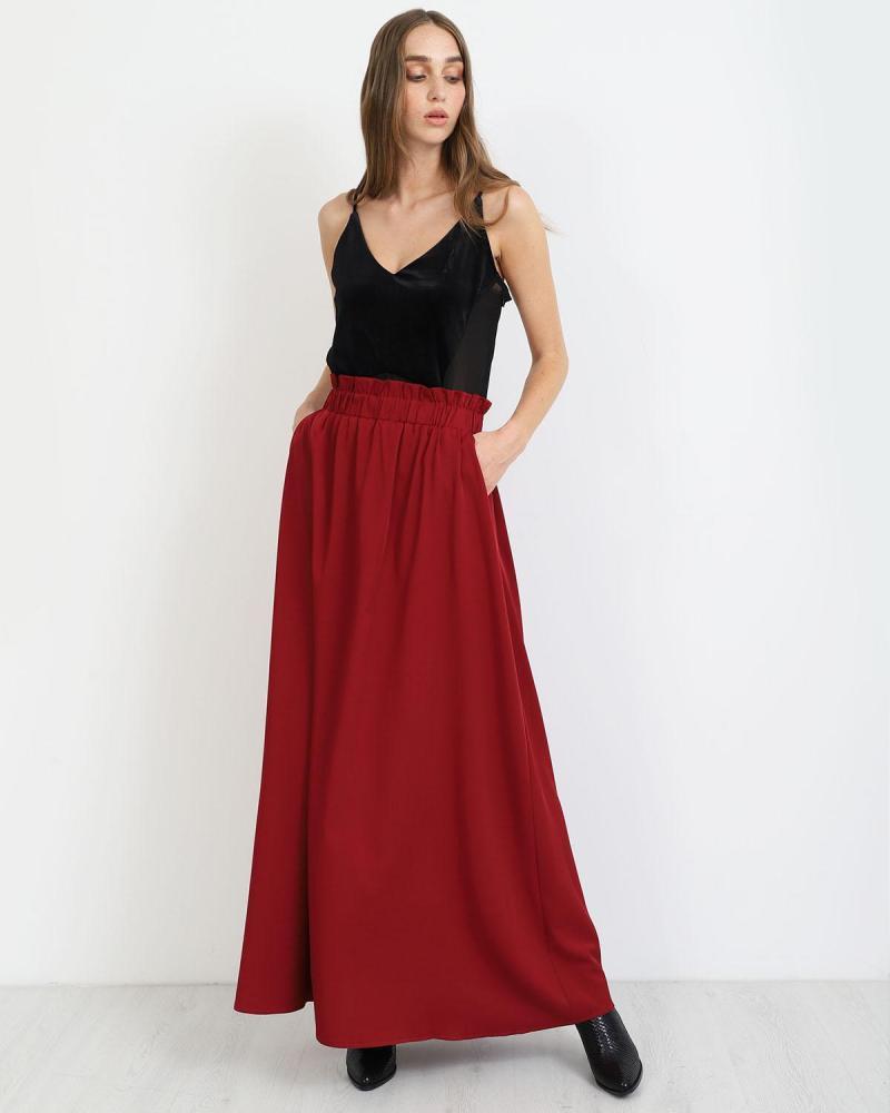 Μάξι φούστα μπορντώ