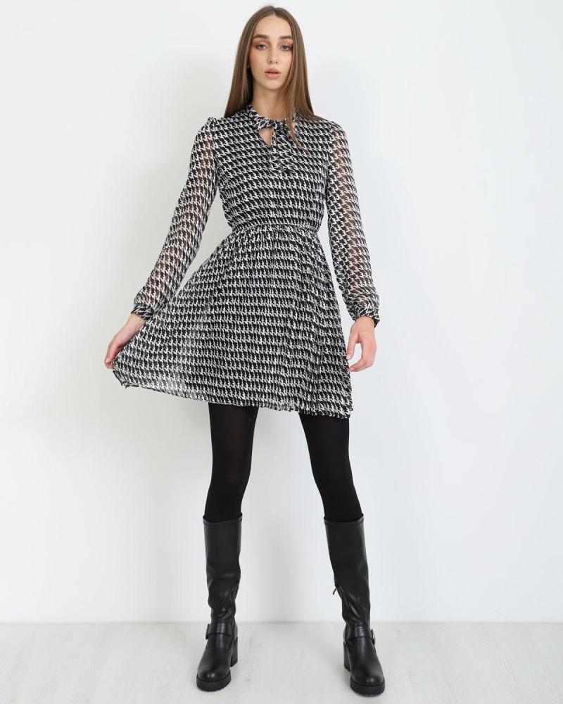 Μίνι φόρεμα άσπρο/μαύρο