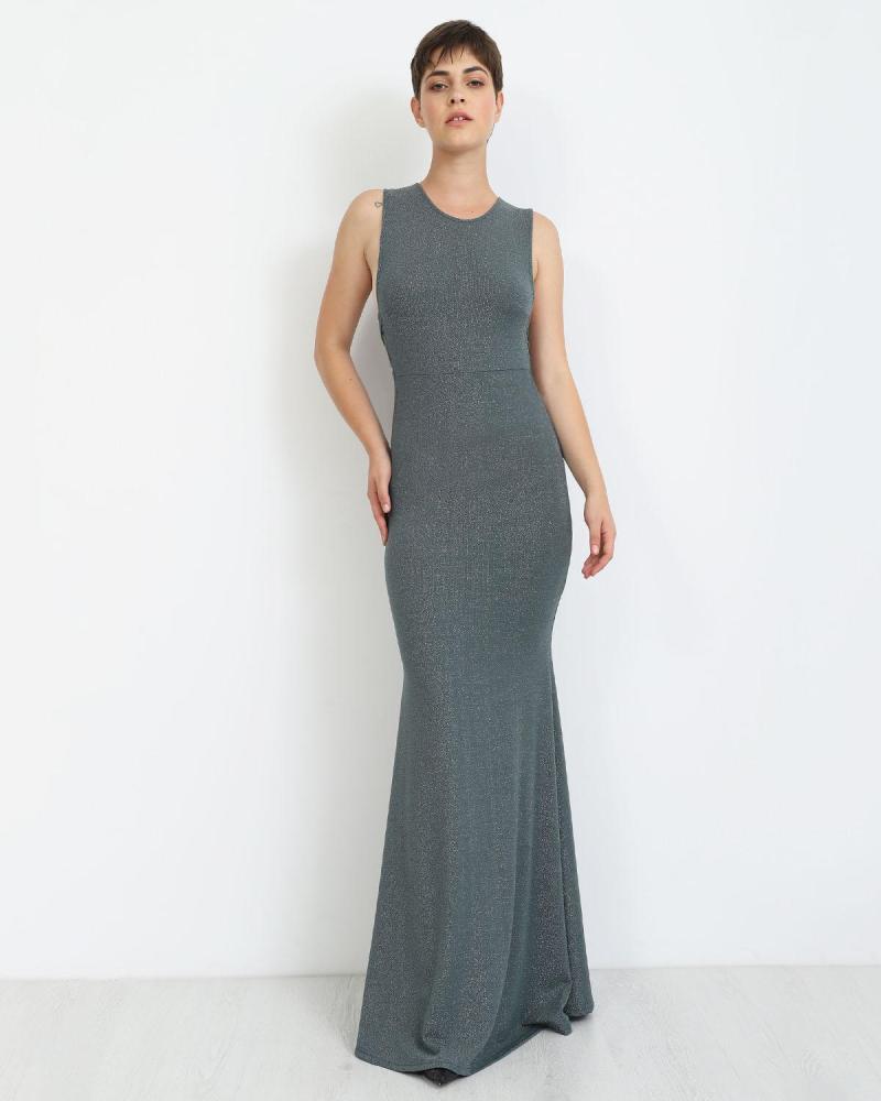 Green/grey maxi dress